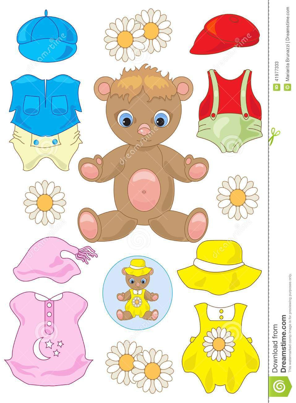 Teddy Bear Paper Doll Stock Vector Image 41977333