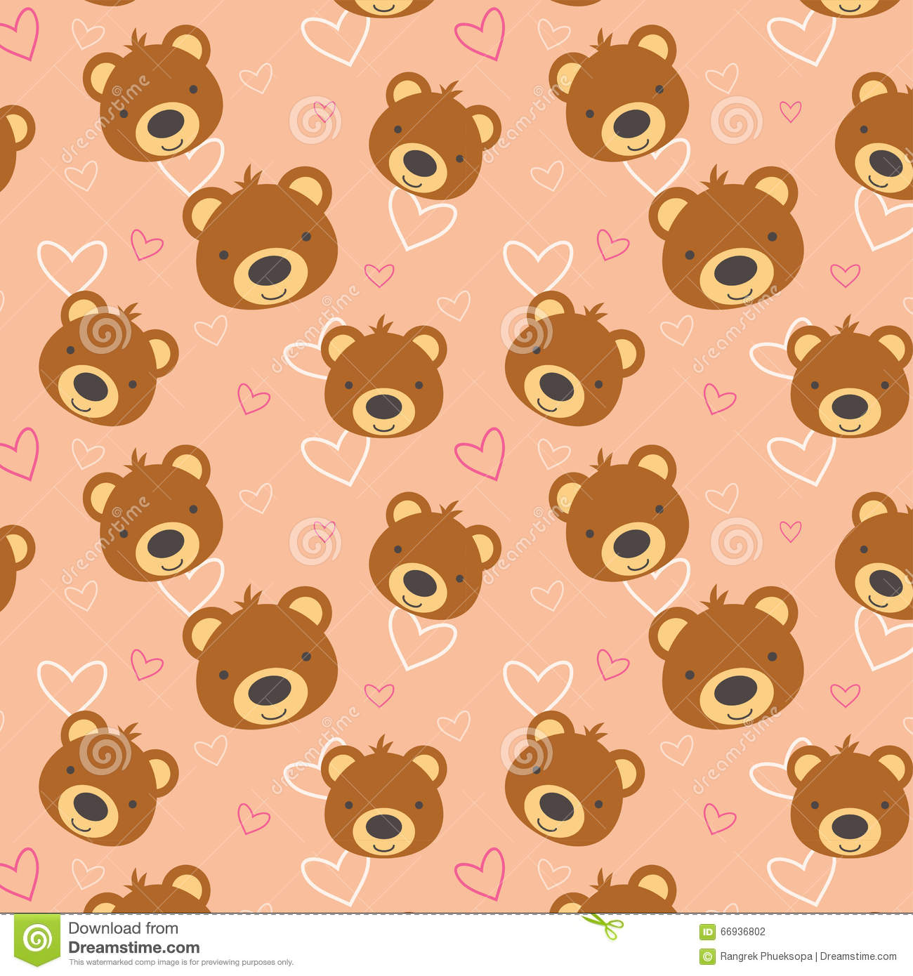 Teddy Bear Pattern Illustration 66936802 Megapixl