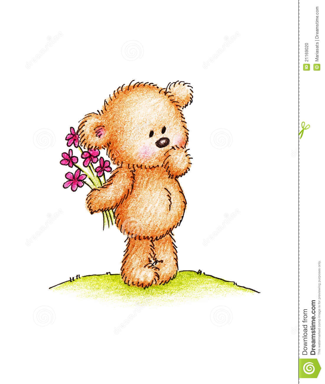 Teddy Bear With Pink Flowers Stock Illustration