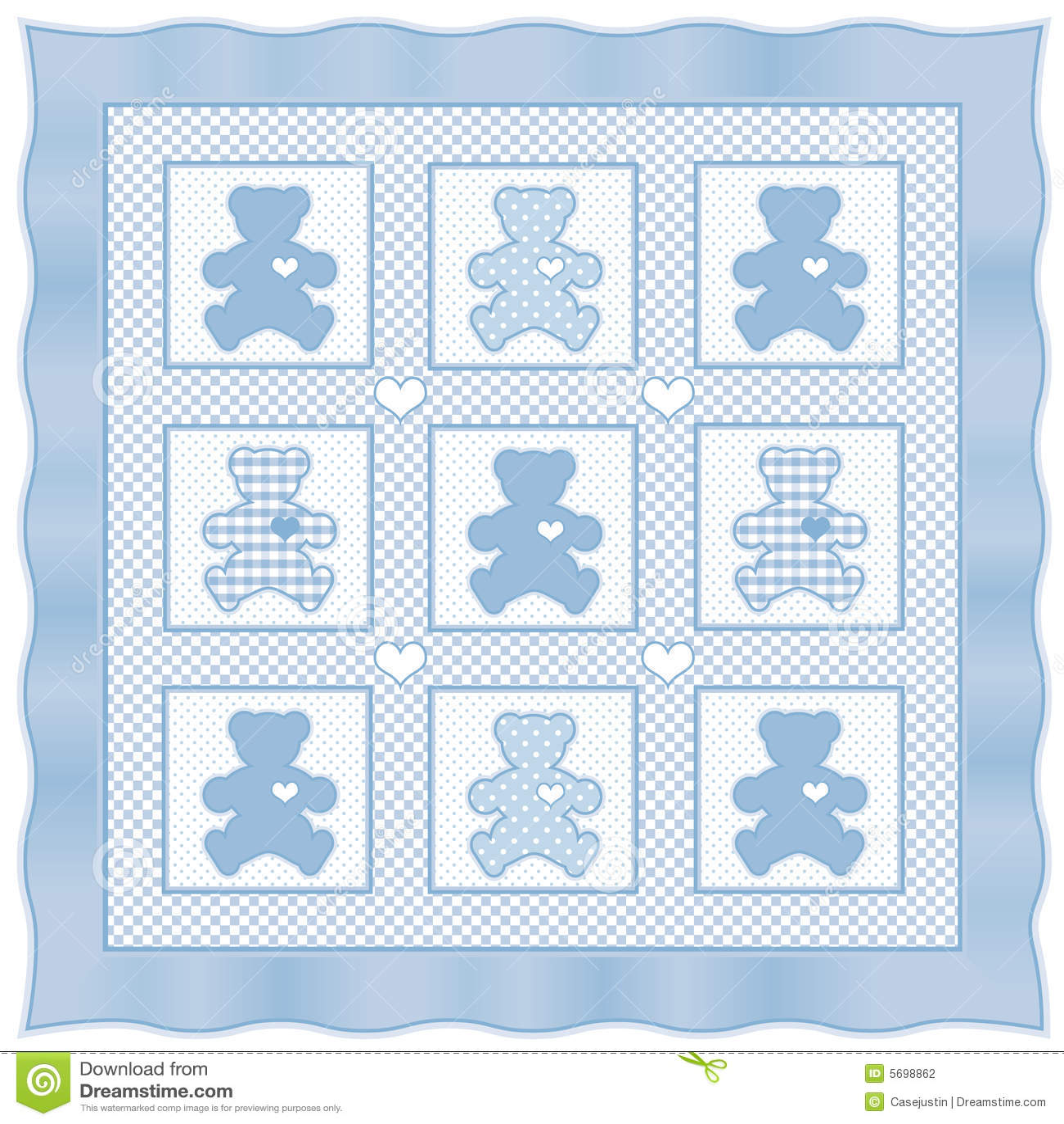 Teddy Bear Quilt Baby Blue Pastel Stock Vector Illustration Of