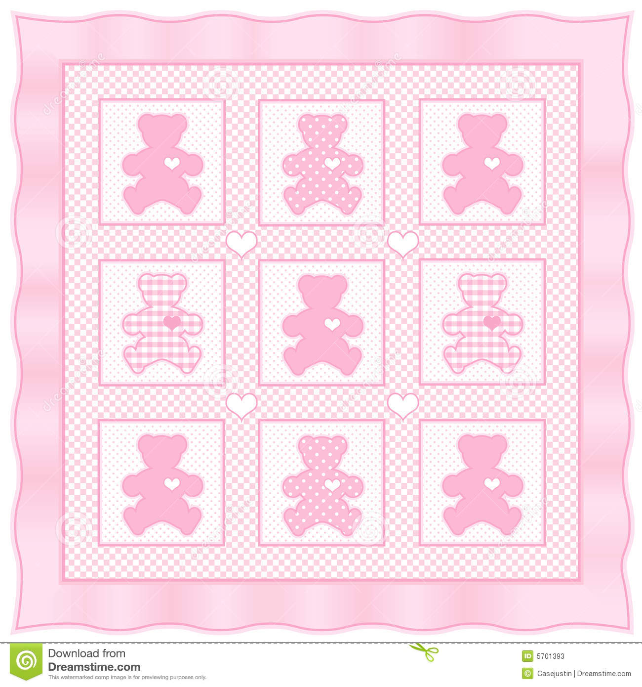 Teddy Bear Quilt Pastel Baby Pink Stock Vector