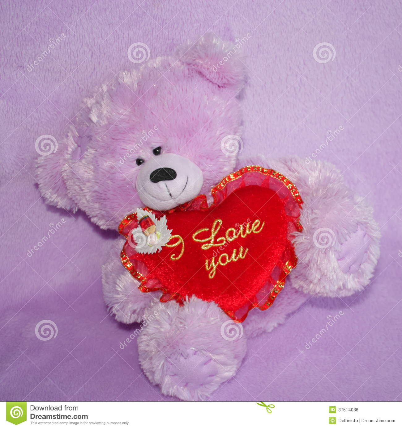 teddy bear and red heart i love you - stock photos stock photo