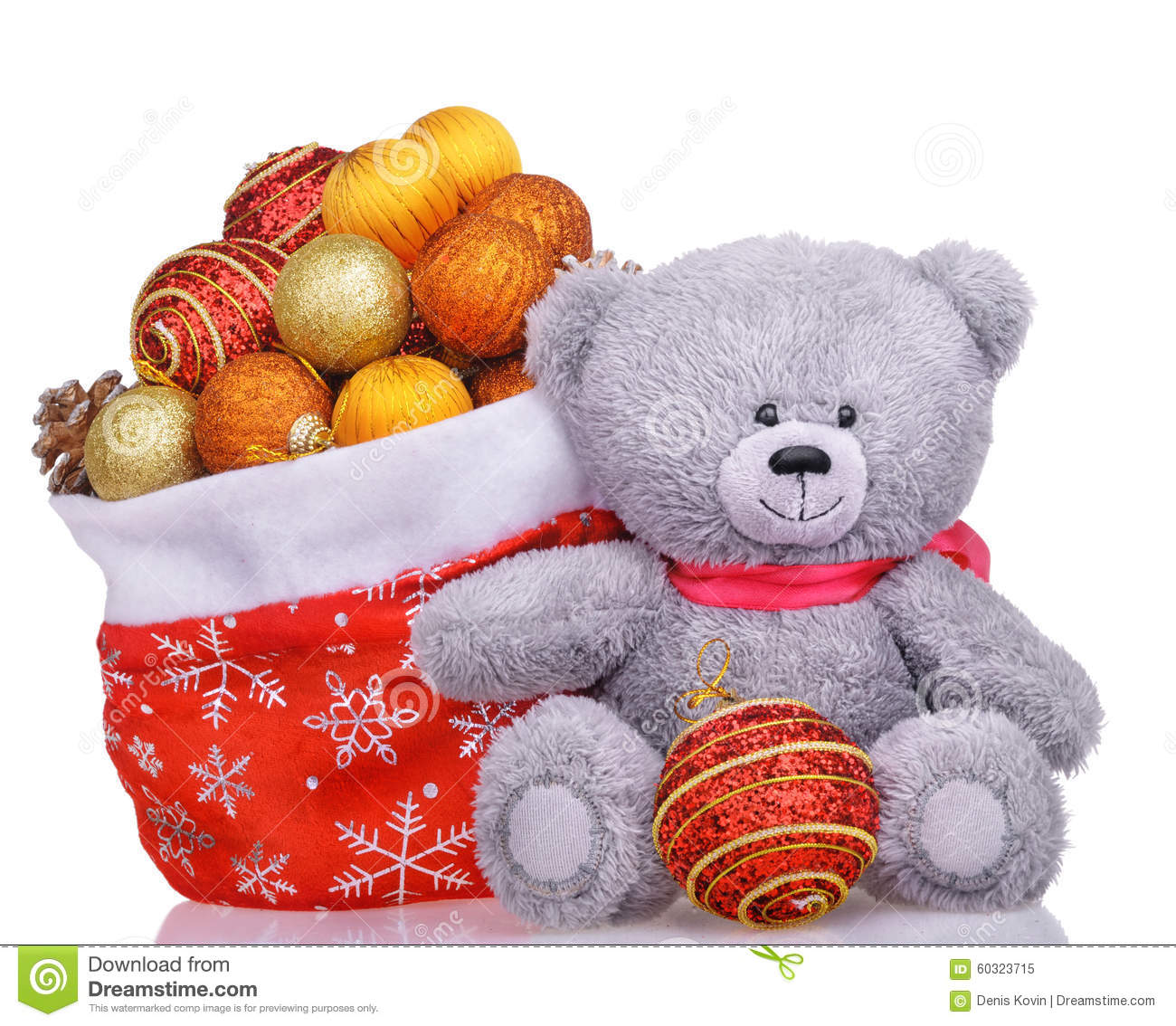 Bag Of Toys : Teddy bear with santa bag full of toys stock photo image