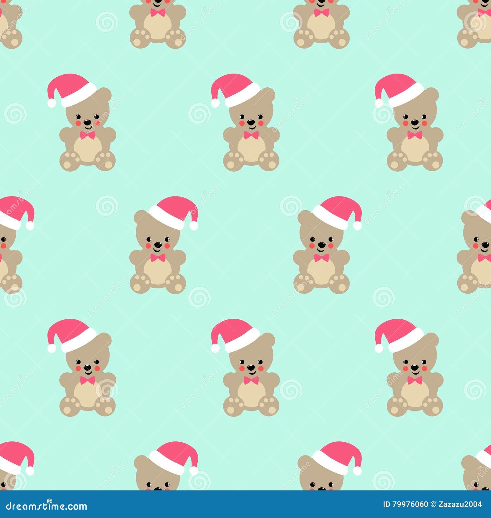 Teddy Bear With Santa Hat Seamless Pattern Stock Vector