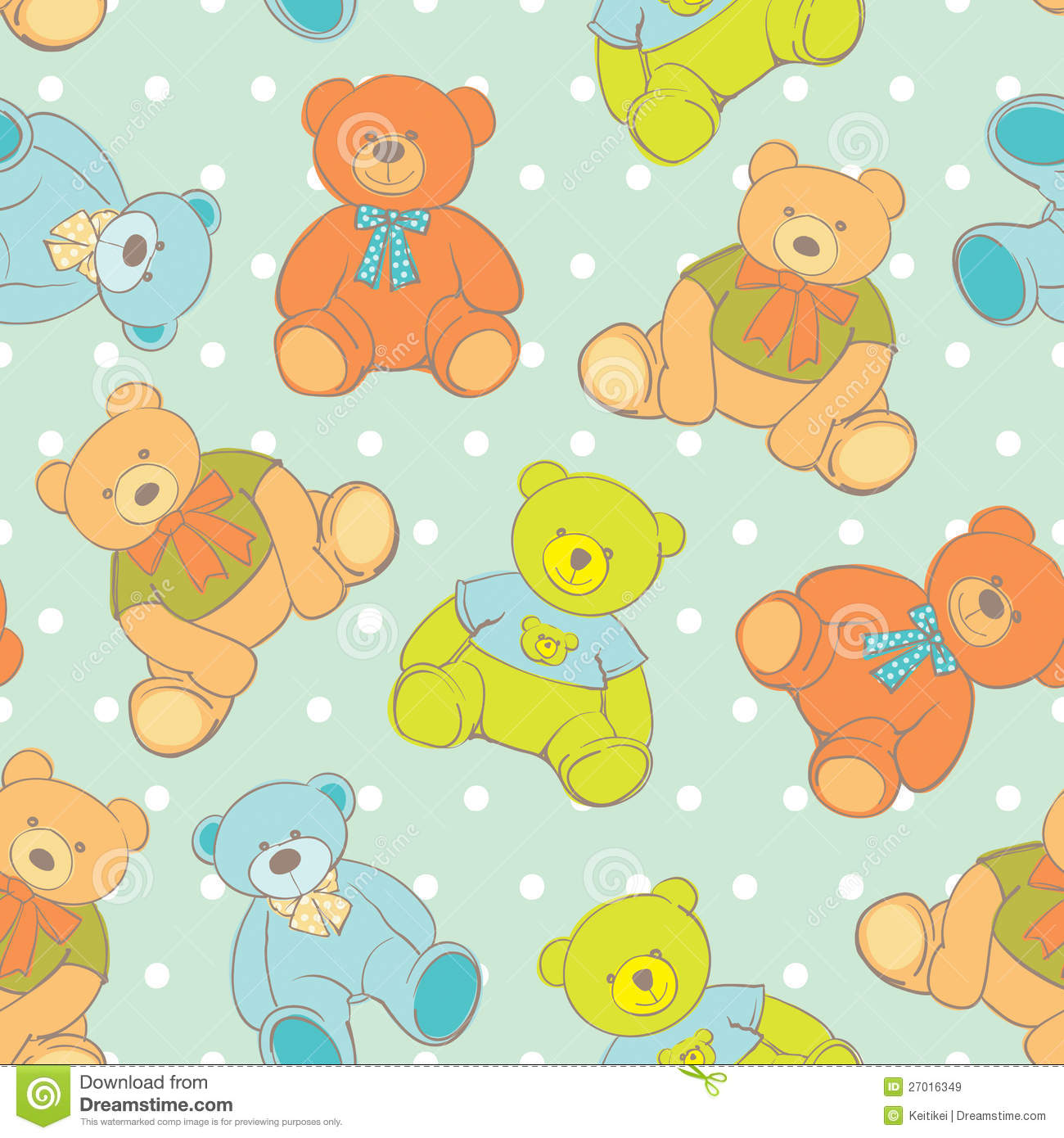 Teddy Bear Seamless Pattern Stock Vector Illustration Of Stuffed