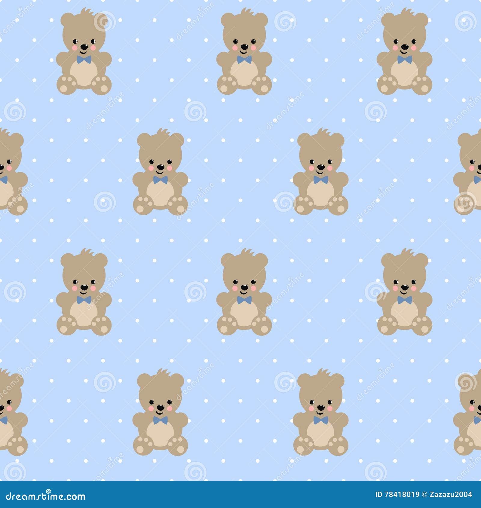 Teddy bear seamless pattern on baby blue polka dots background teddy bear seamless pattern on baby blue polka dots background thecheapjerseys Choice Image