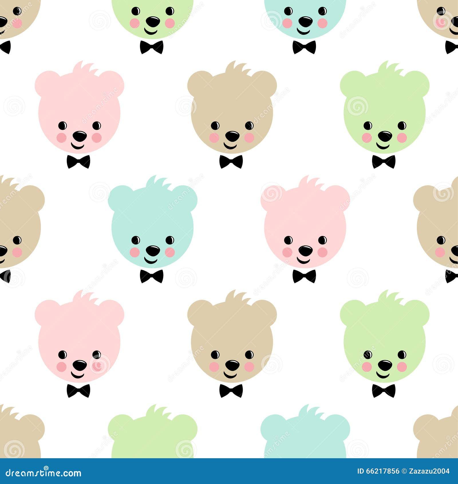 teddy bear seamless pattern cute vector background with boy teddy