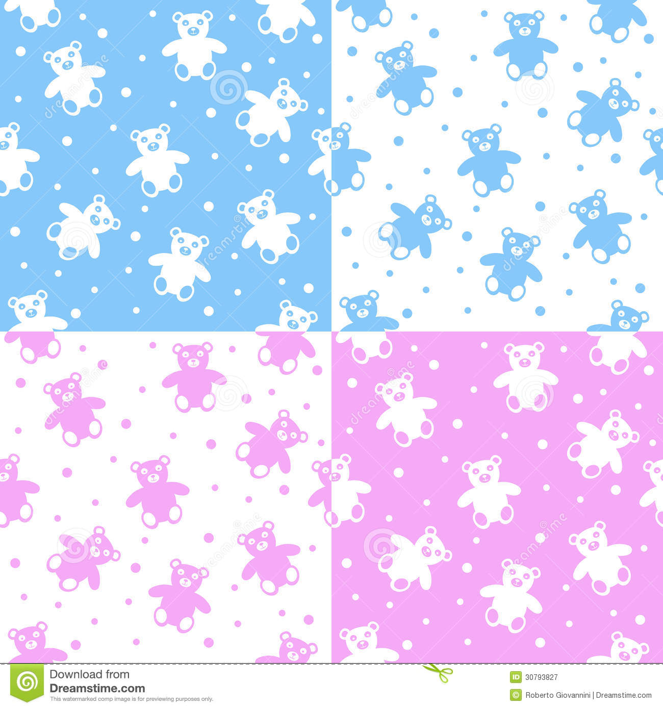 Abstract seamless patterns with teddy bears for boys and girls. Useful ...