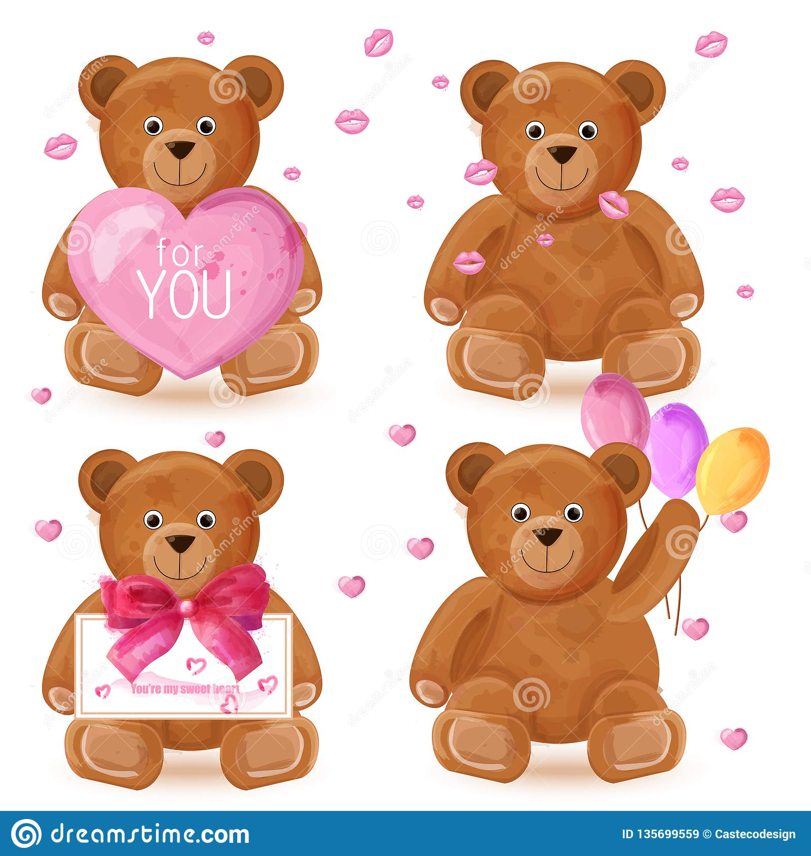 Teddy bear set Vector. Romantic cute cartoon bears lovely symbols in watercolor