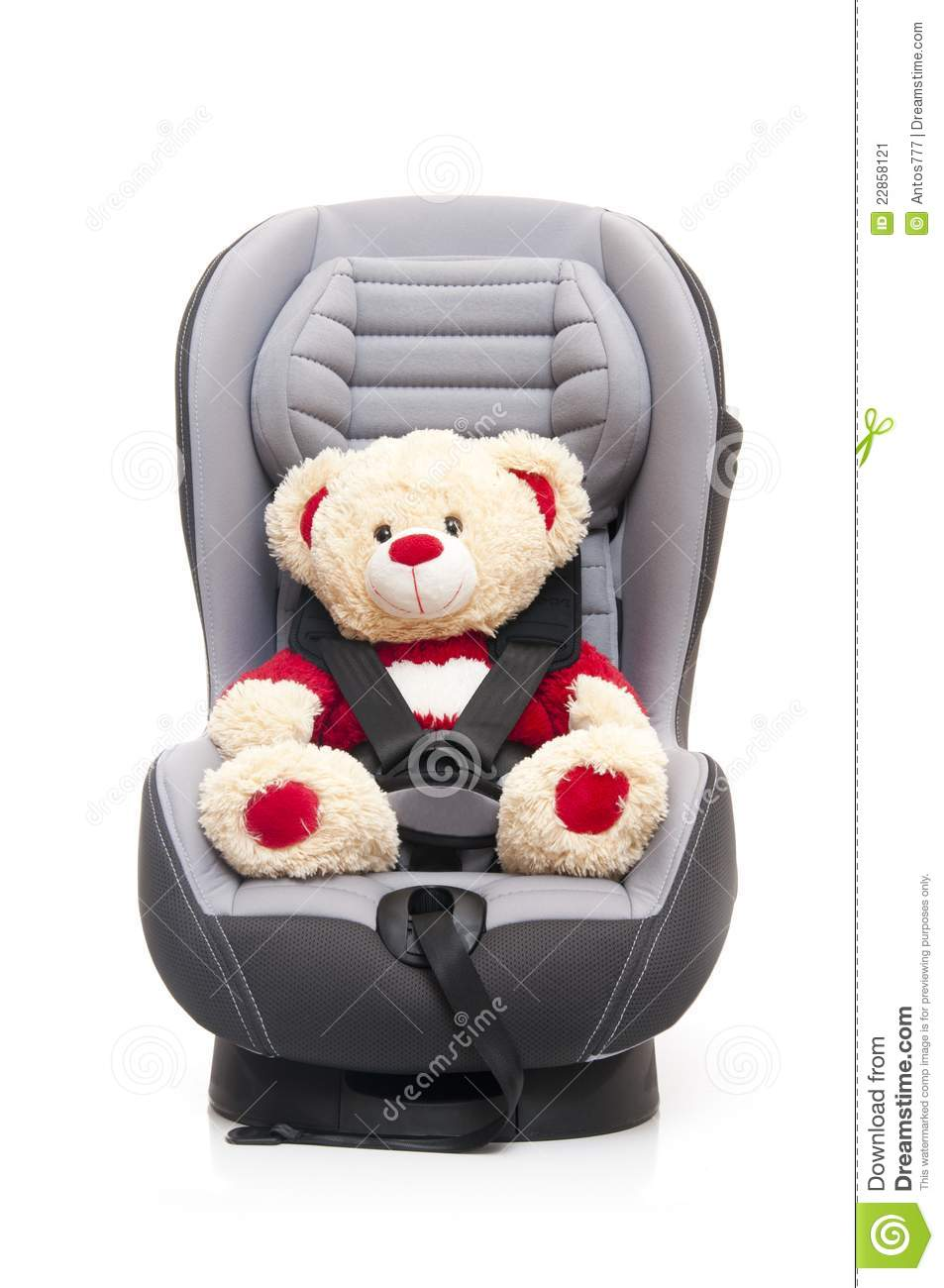 teddy bear sitting on child 39 s car seat stock image image 22858121. Black Bedroom Furniture Sets. Home Design Ideas