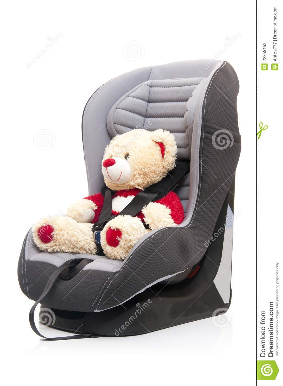 teddy bear sitting on child 39 s car seat stock photography image 22858152. Black Bedroom Furniture Sets. Home Design Ideas