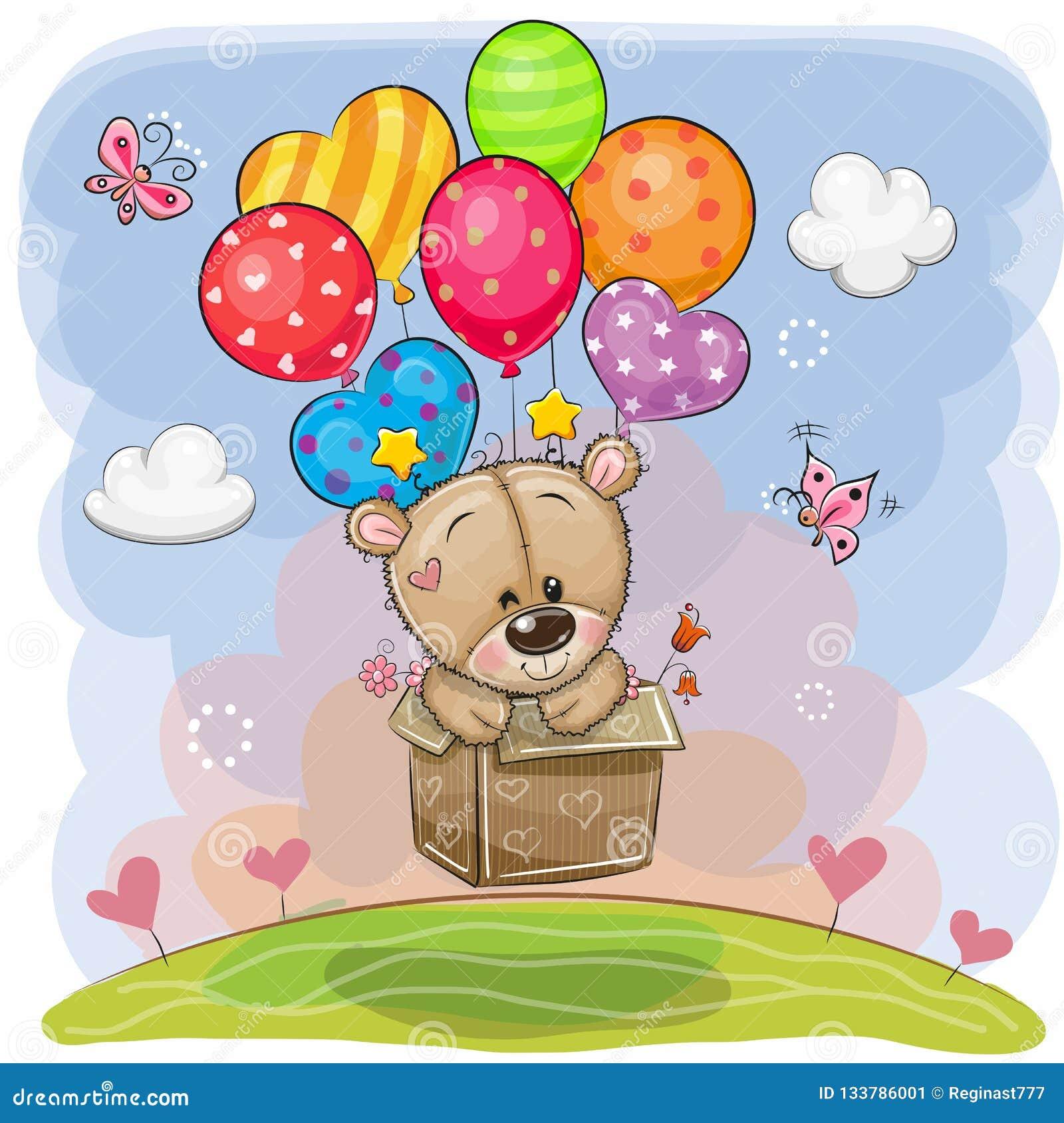 Teddy Bear sveglio nella scatola sta volando sui palloni