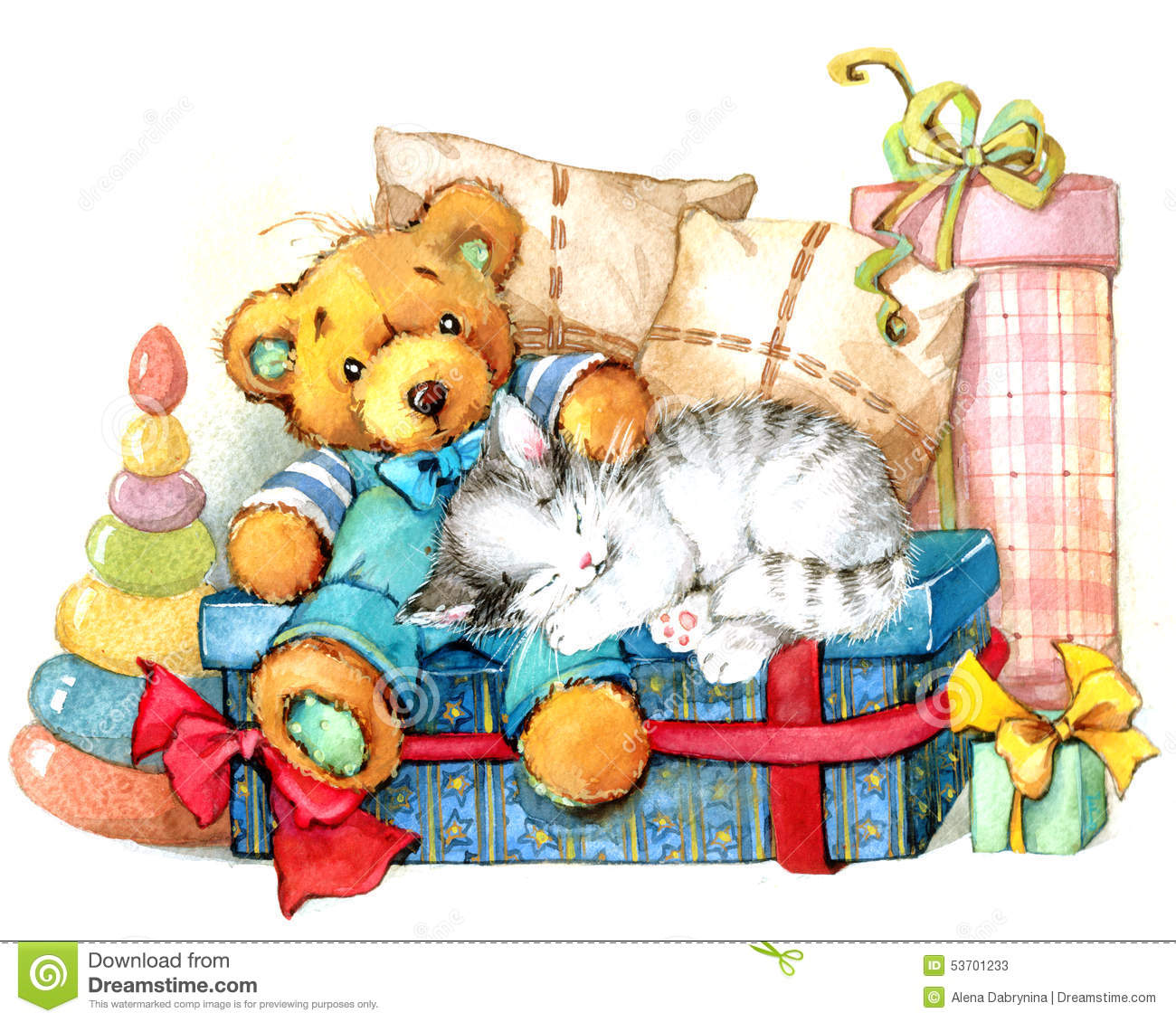 Teddy Bear Toy Background watercolor