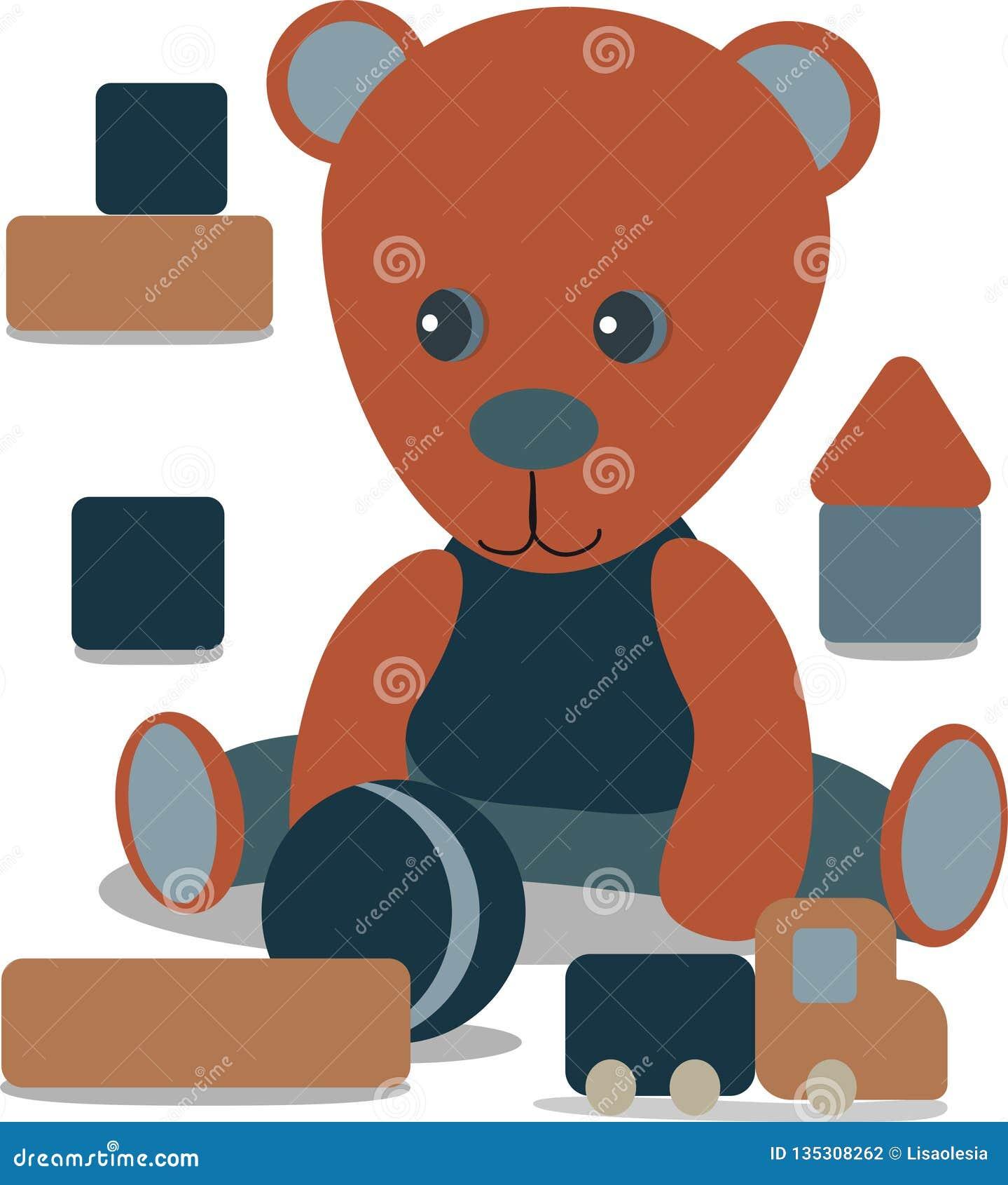 Teddy bear with toy, ball, Baby announcement metric card grey and blue color. nursery decor