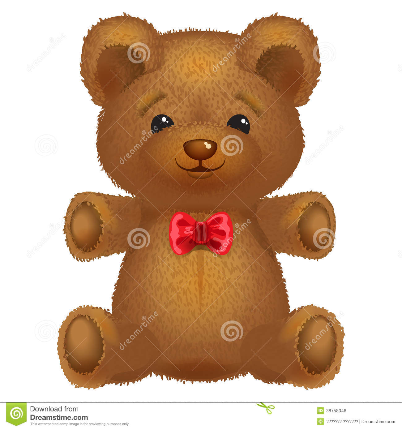 Teddy Bear Vector Brown With A Red Bow. Stock Vector ...