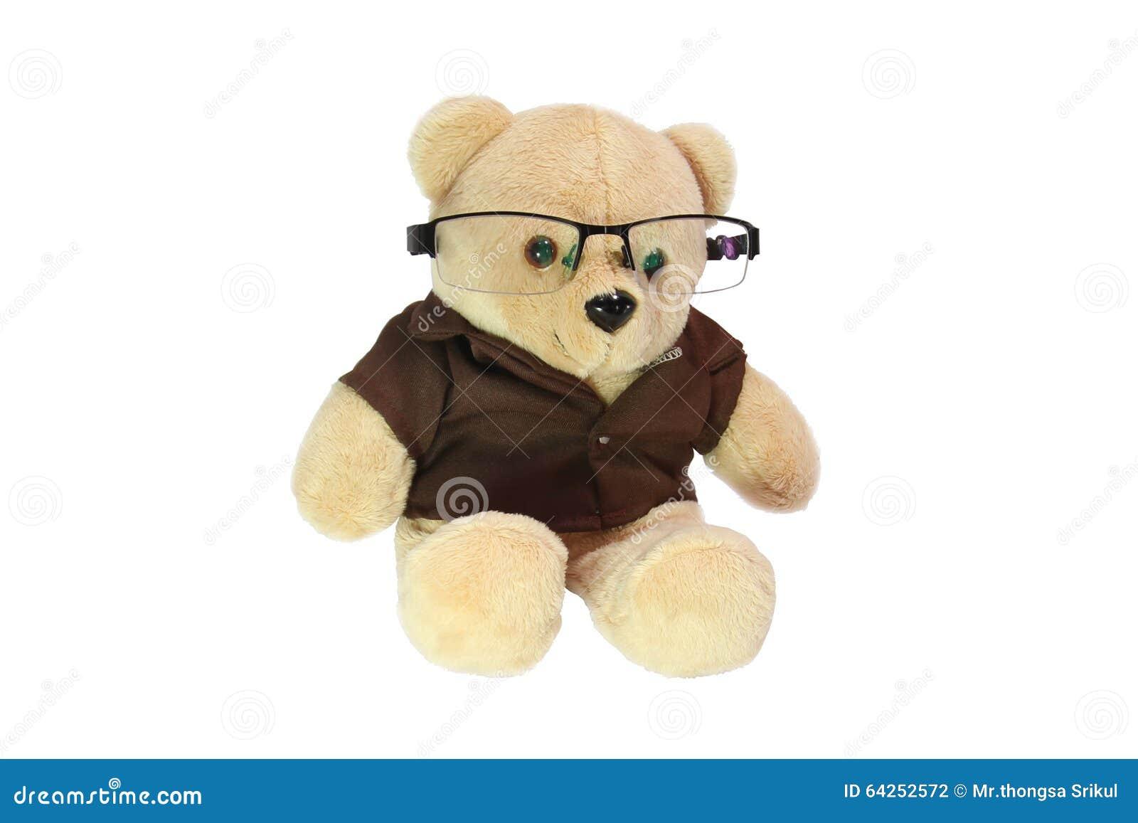 Teddy bear wearing glasses stock photo. Image of black ...