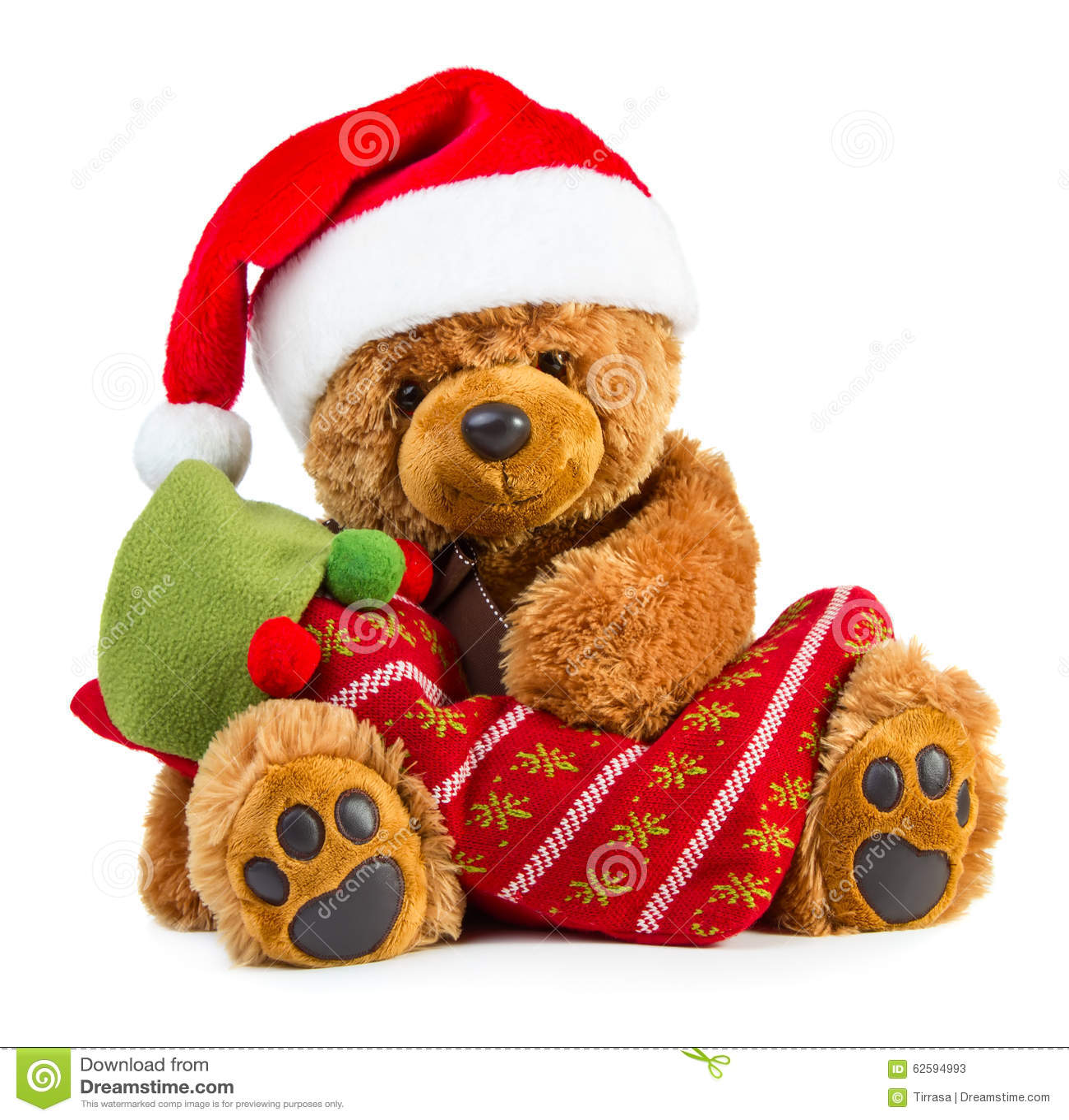 b3c609aa2aca3 Teddy Bear Wearing A Santa Hat Stock Image - Image of gift