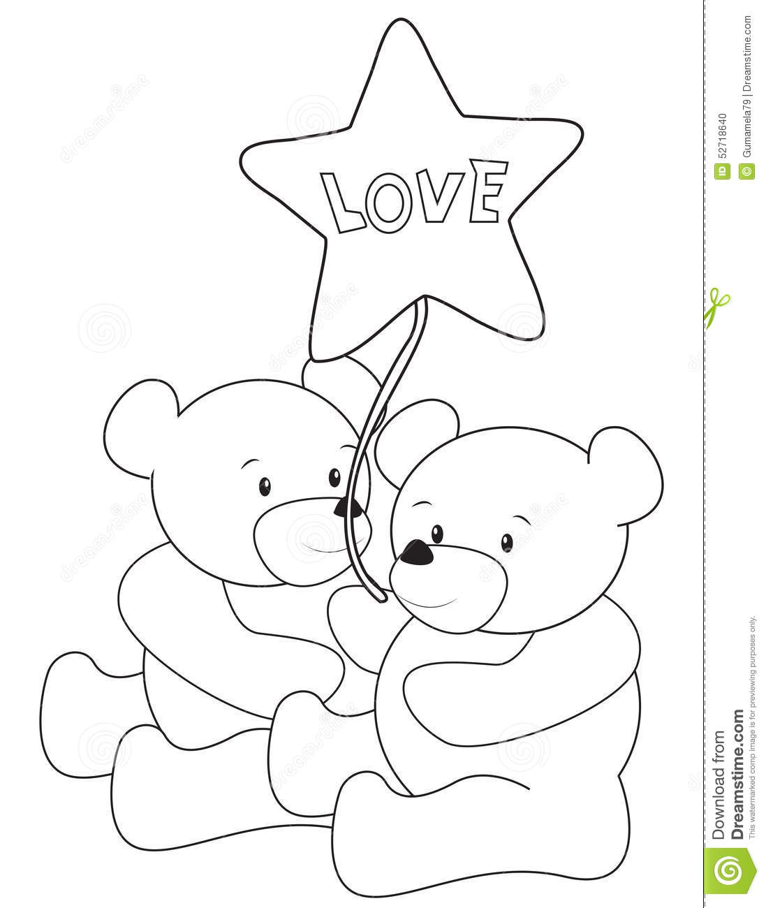 Teddy Bears Coloring Page Stock Illustration Illustration Of