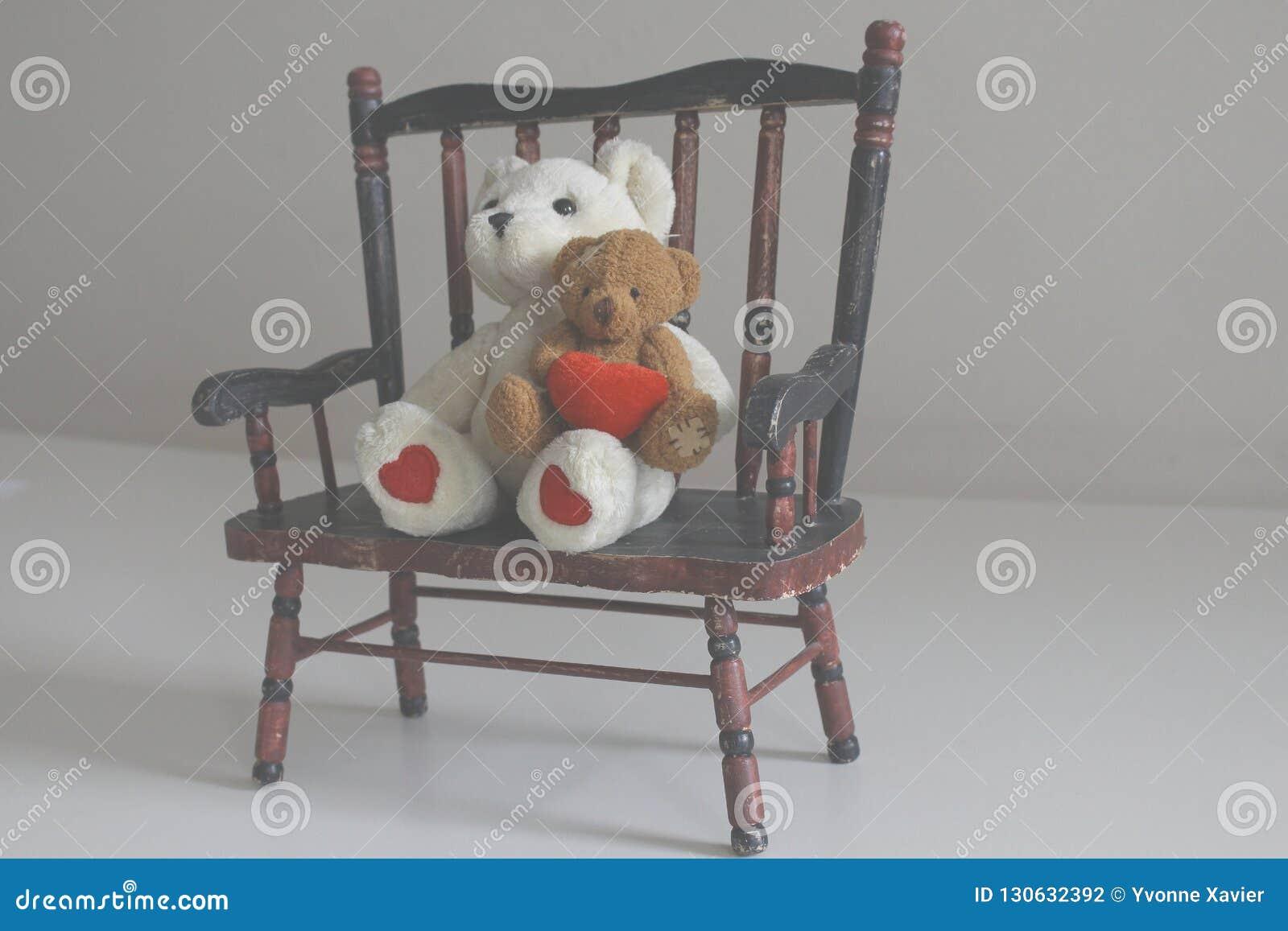 Awe Inspiring Teddy Bears On A Wooden Bench Stock Photo Image Of Sitting Inzonedesignstudio Interior Chair Design Inzonedesignstudiocom