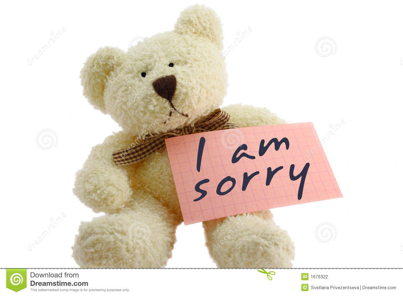 teddy i am sorry stock photography