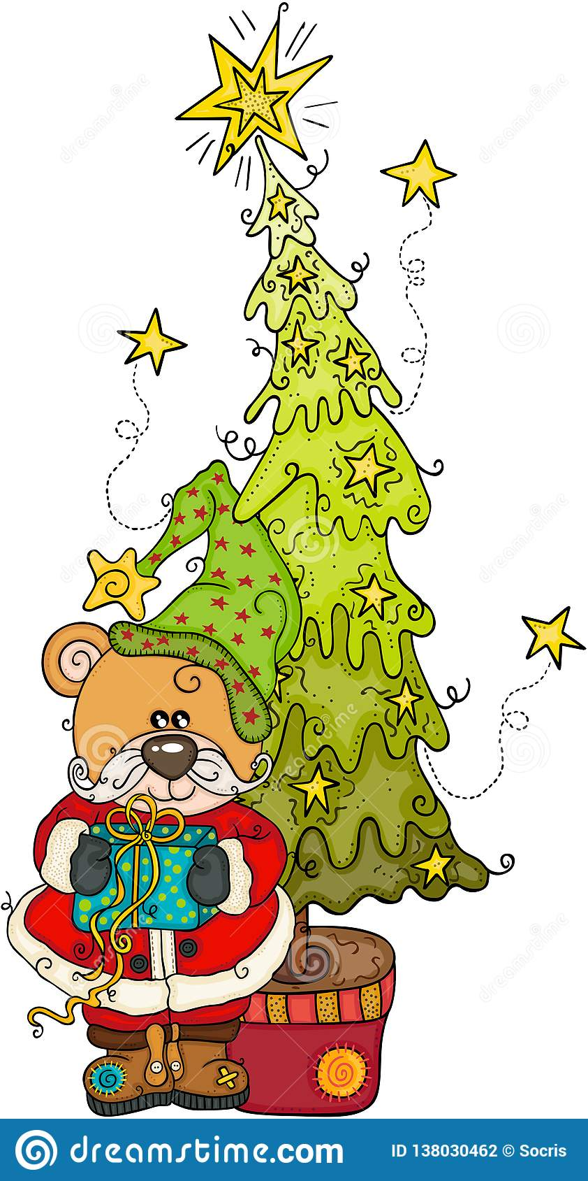 Teddybär mit Geschenk und Weihnachtskiefer