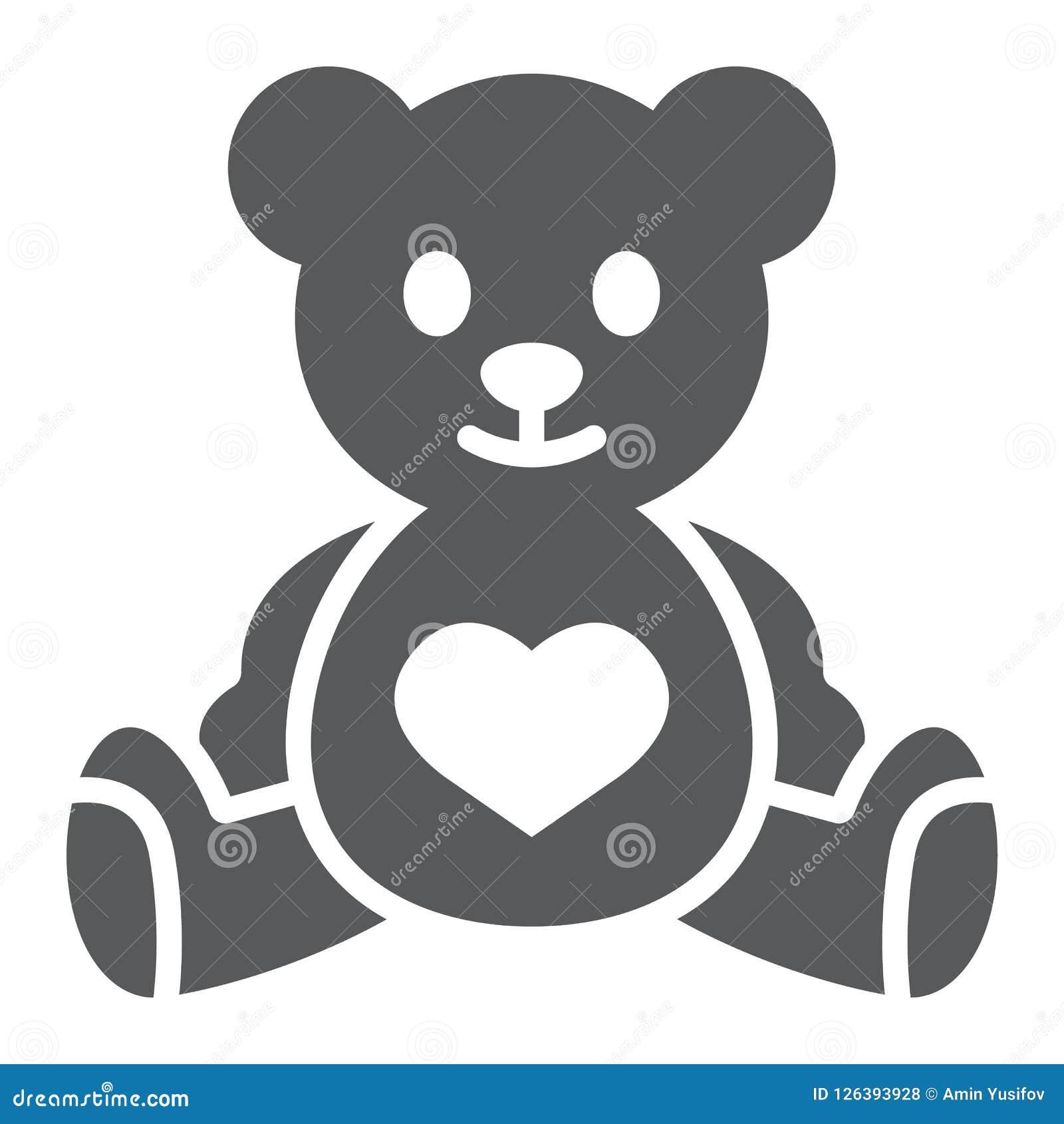 Teddybeer glyph pictogram, kind en stuk speelgoed, dierlijk teken, vectorgrafiek, een stevig patroon op een witte achtergrond