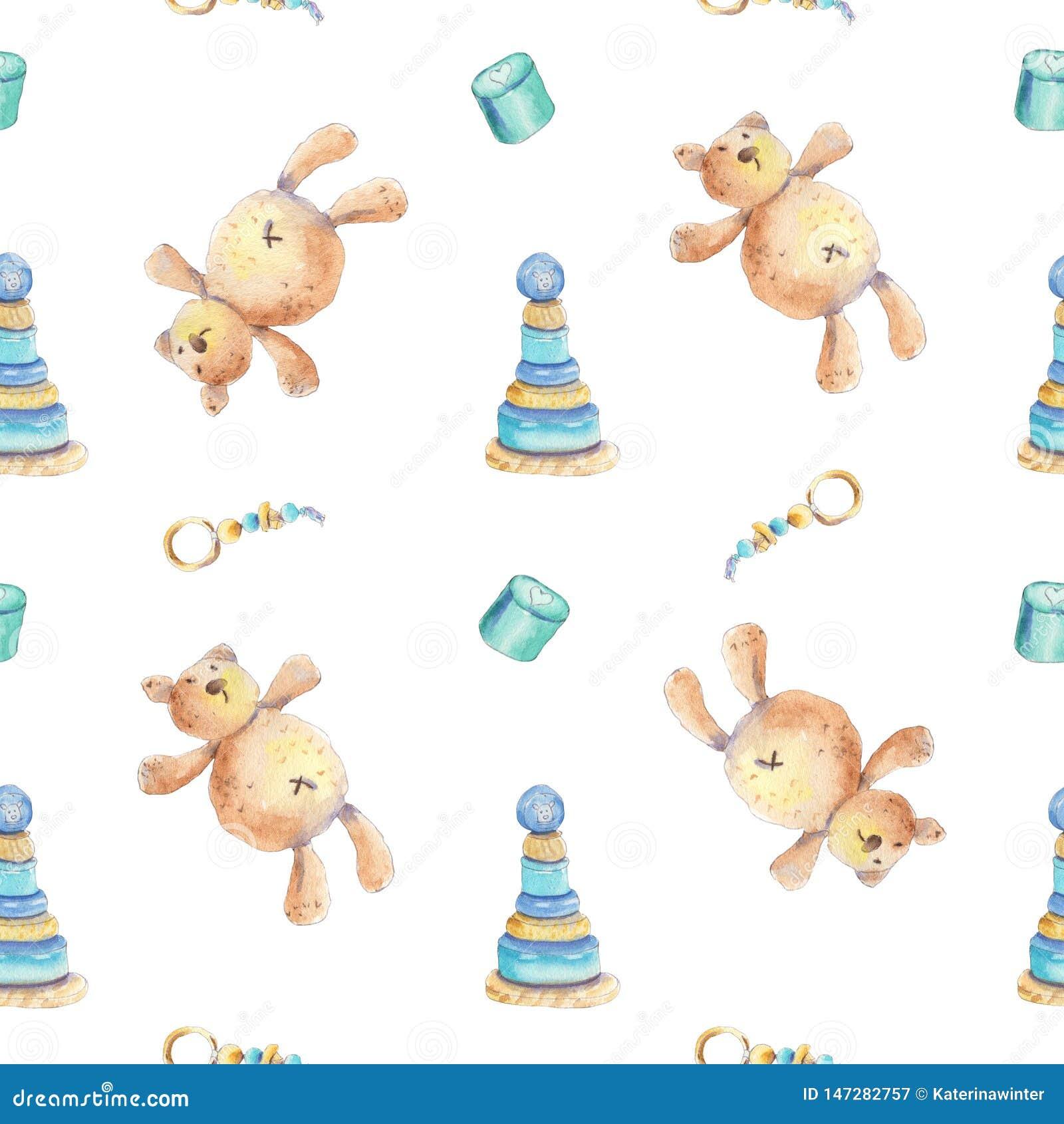 Teddyberen en houten speelgoedpatroon