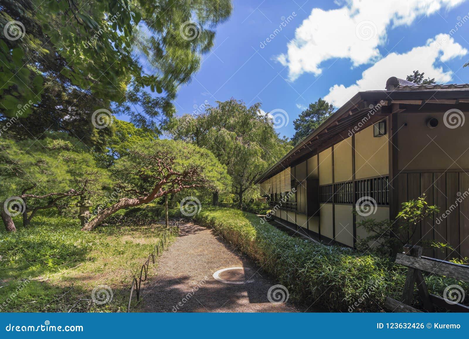 Tee-Haus nannte Rakuutei, das durch einen Weg gezeichnet wurde, der durch Kiefer umgeben wurde