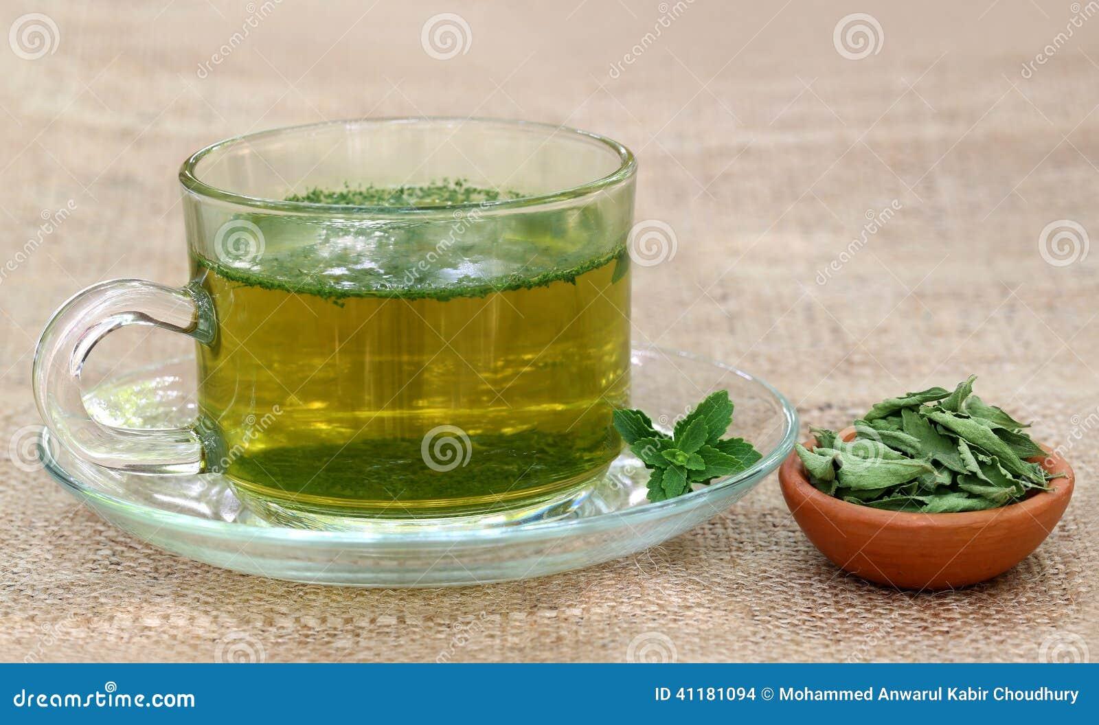 Tee mit Stevia stockfoto. Bild von nahaufnahme, getränk - 41181094
