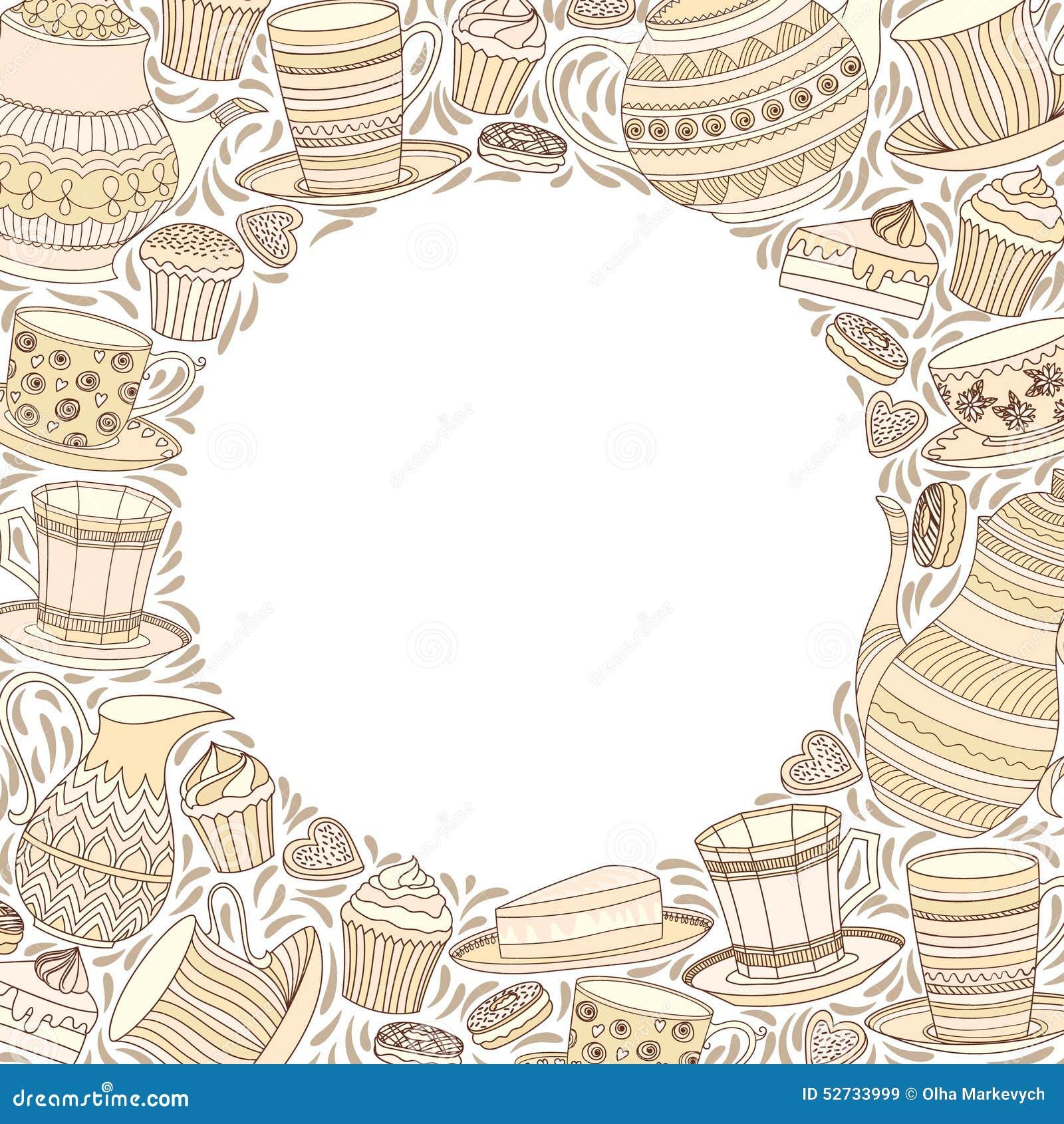 Tee-Zeit-Rahmen vektor abbildung. Illustration von cupcake - 52733999