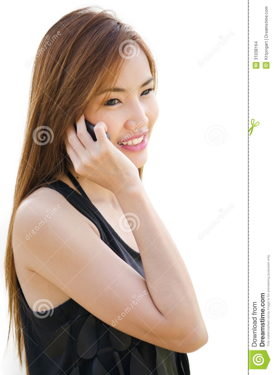 Asian girl on cell phone