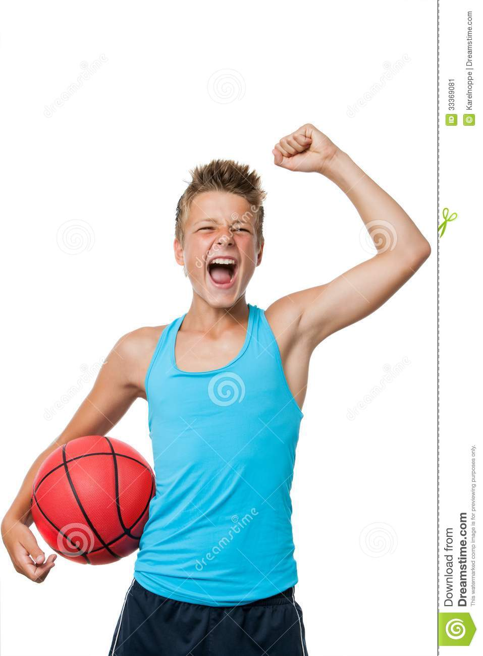 Teen Basketball Player With Winning Attitude Stock Image