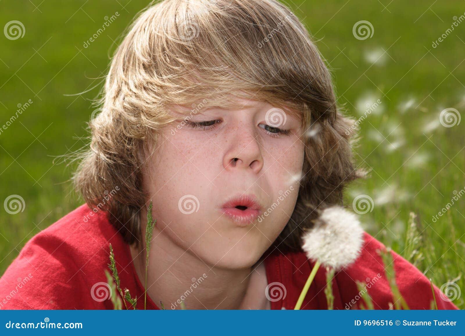 teenboy Teen boy blowing dandelion seeds Royalty Free Stock Image