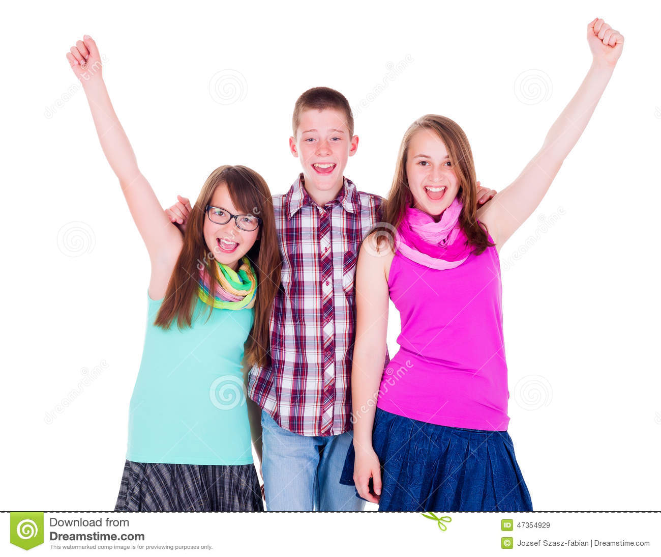 Teen Boy With Happy Girlfriends Stock Image - Image 47354929-5851