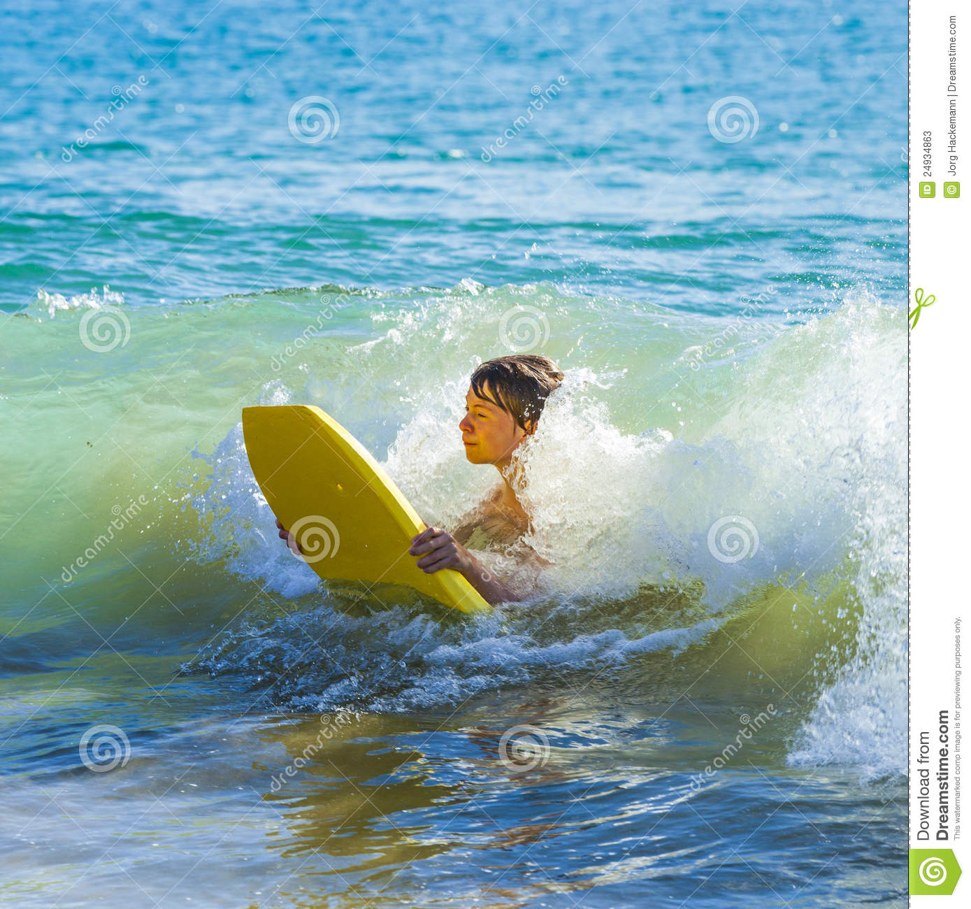 Teen Boy Has Fun Surfing Stock Image Image Of Spume