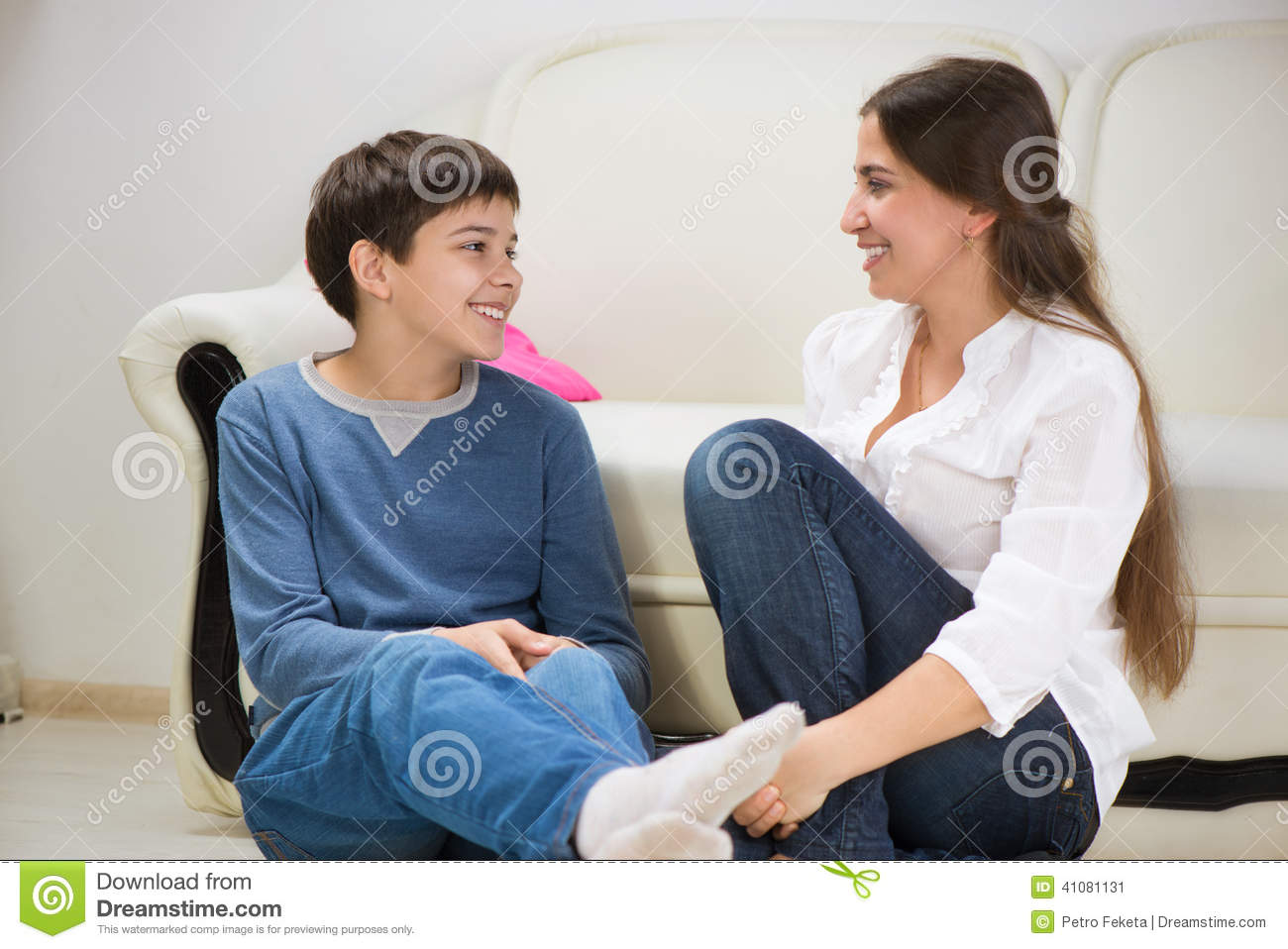 Teen Boy With His Young Mother At Home Stock Image - Image Of Modern, Jeans 41081131-4919