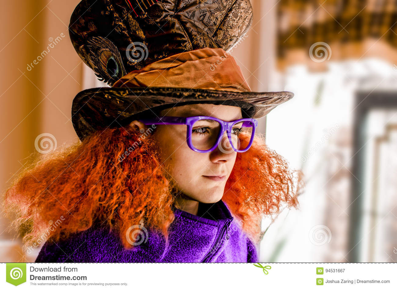 Teen Boy in Mad Hatter Style hat and hair