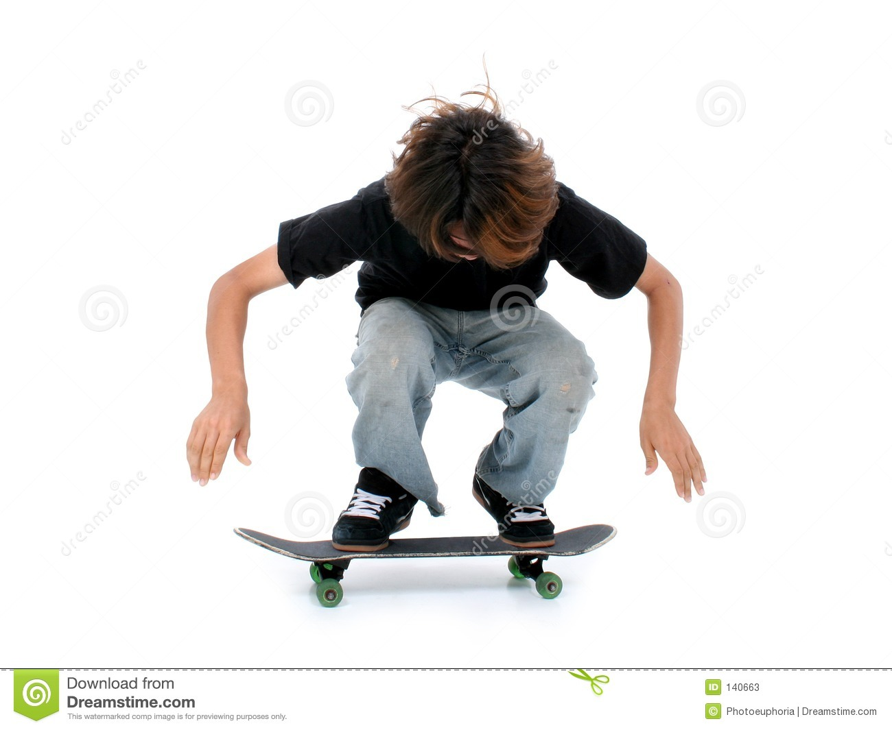 Teen Boy With Skateboard Over White Stock Image Image of teen