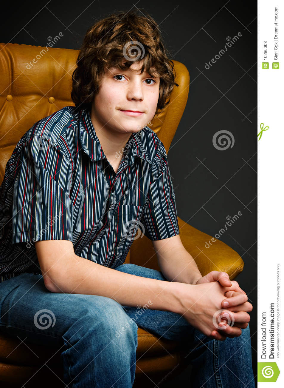 Teen Boy In Studio Stock Photo Image Of Caucasian