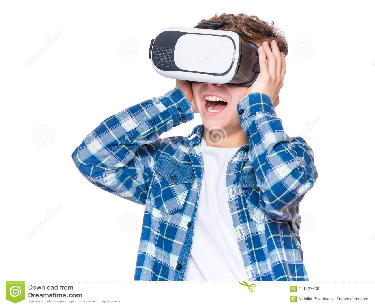 Teen boy in VR glasses stock photo. Image of reaction