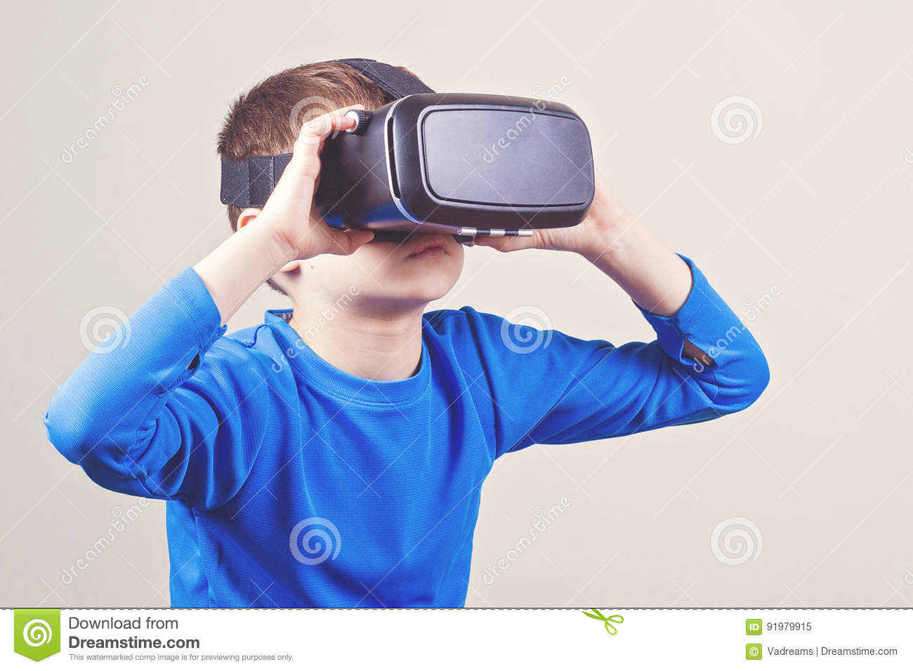 Teen boy in VR glasses stock photo. Image of head, glasses