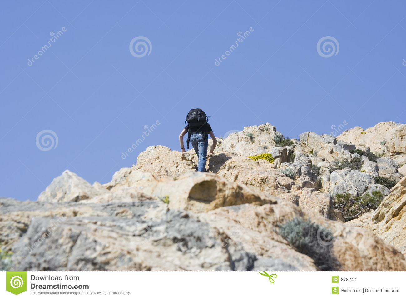 teen climbing moutain