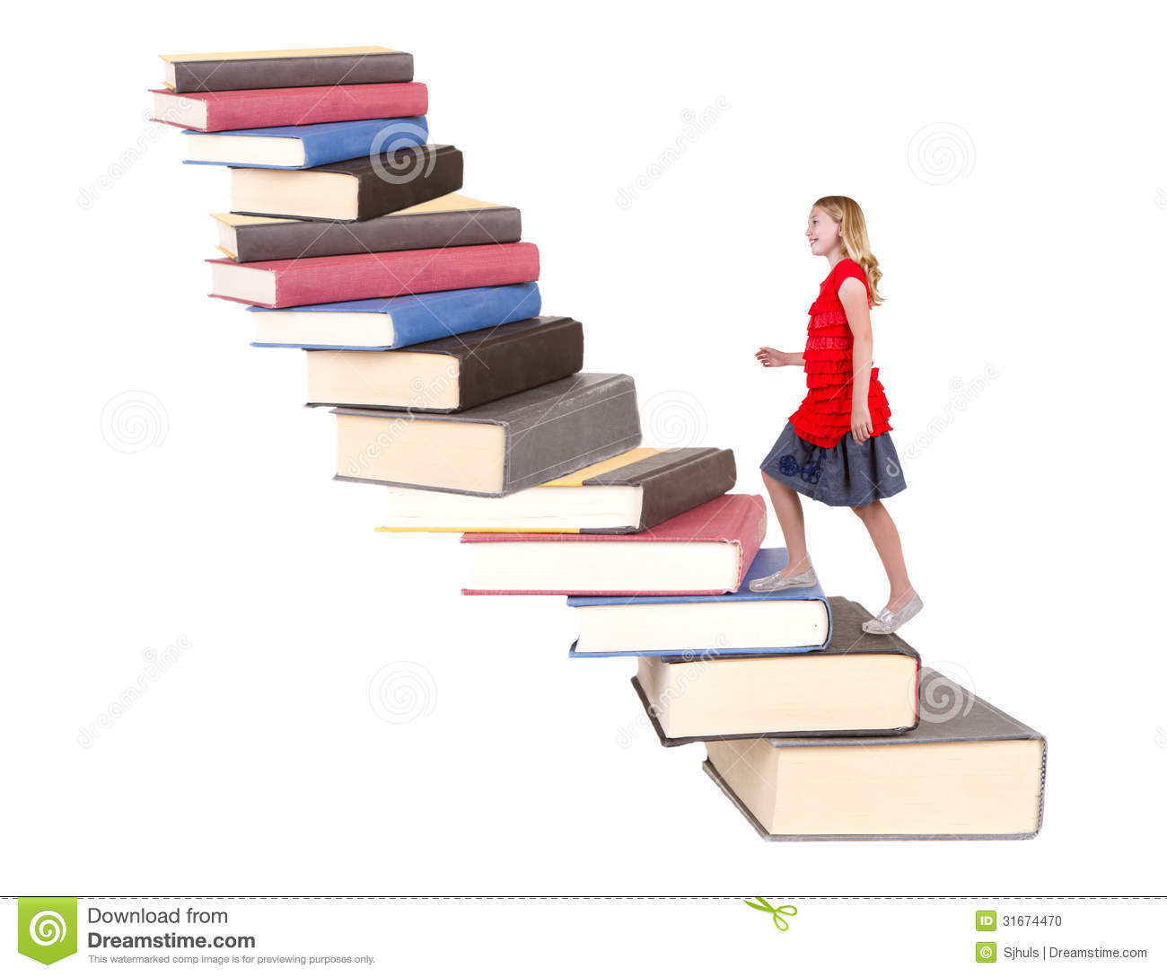 Teen Climbing A Staircase Of Books Stock Photo Image