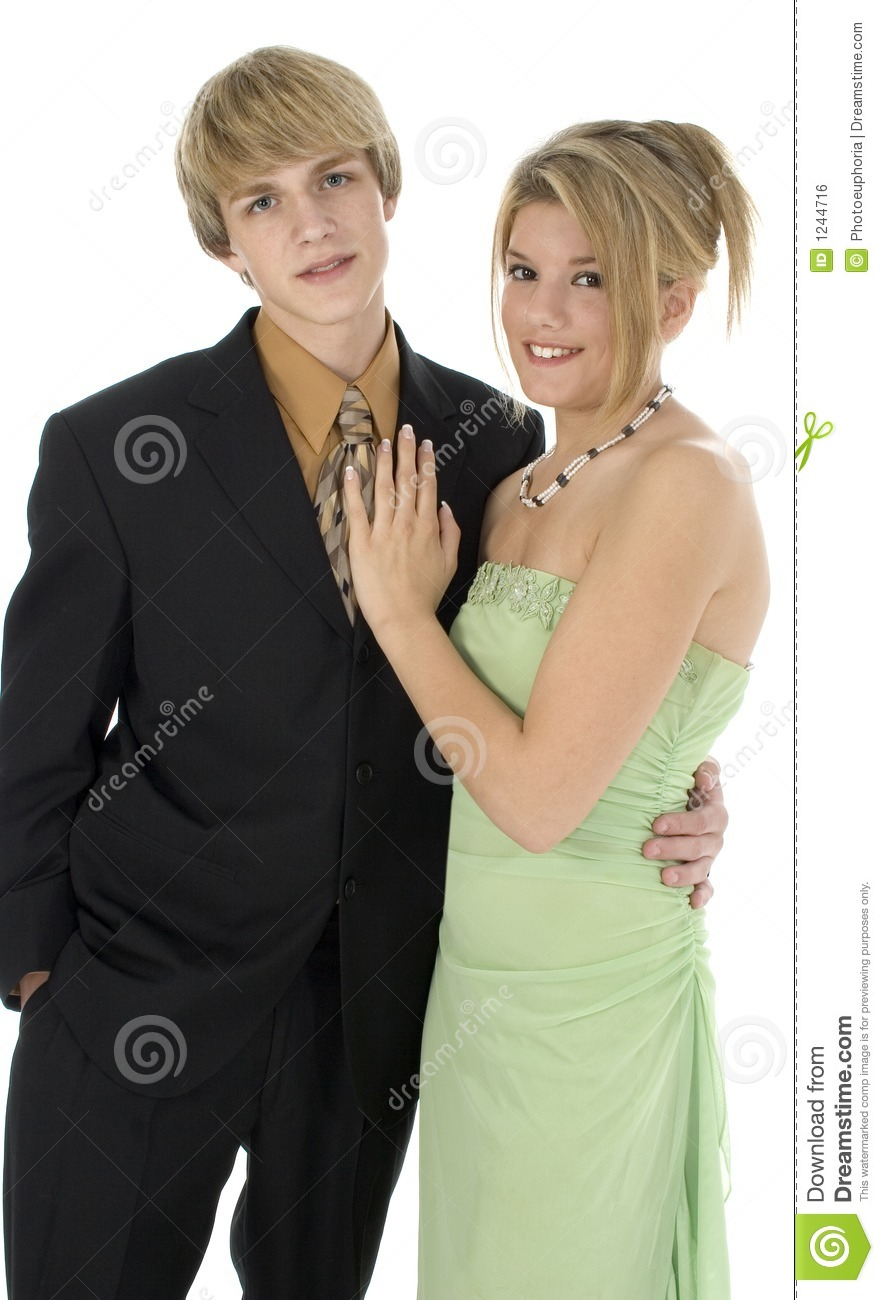 15 year old teen couple. In suit and formal dress.