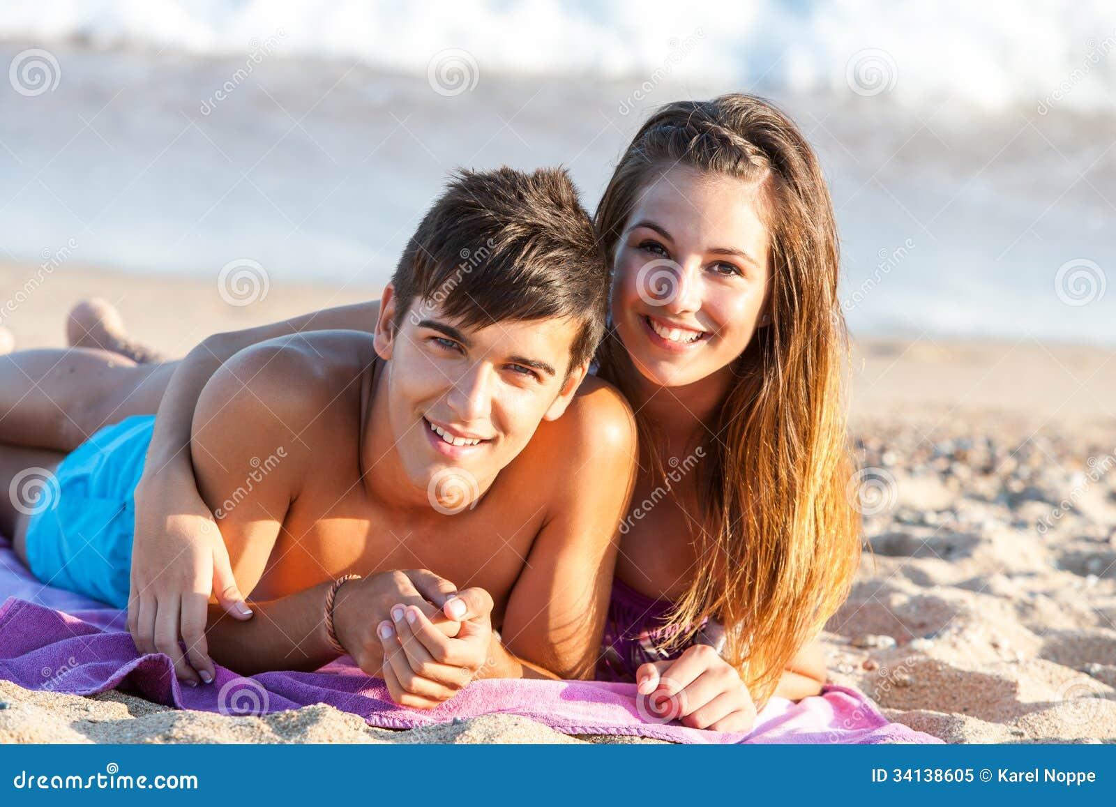 teen couple sex on the beach