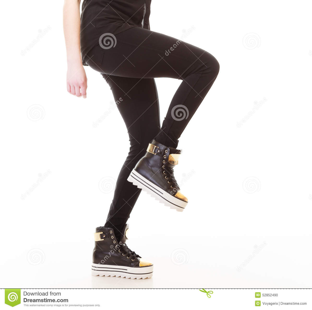 Teen Fashion Female Legs In Sneakers Stock Photo Image 52852490
