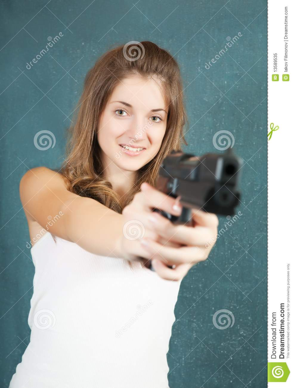 teen girl aiming a gun stock image image of action girl