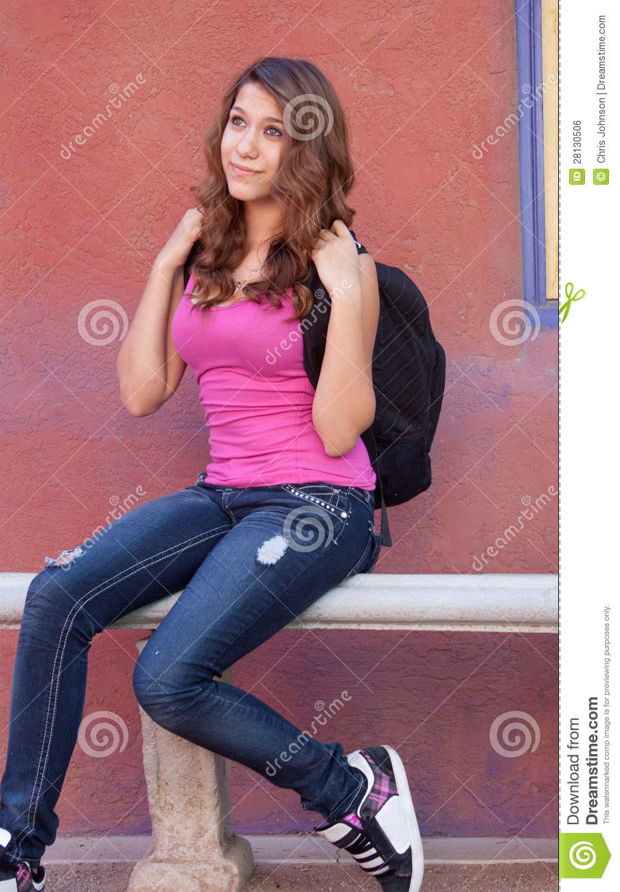 Teen Girl Laying On Her Bed Listening Music Stock Image: Teen Girl With Backpack Royalty Free Stock Image