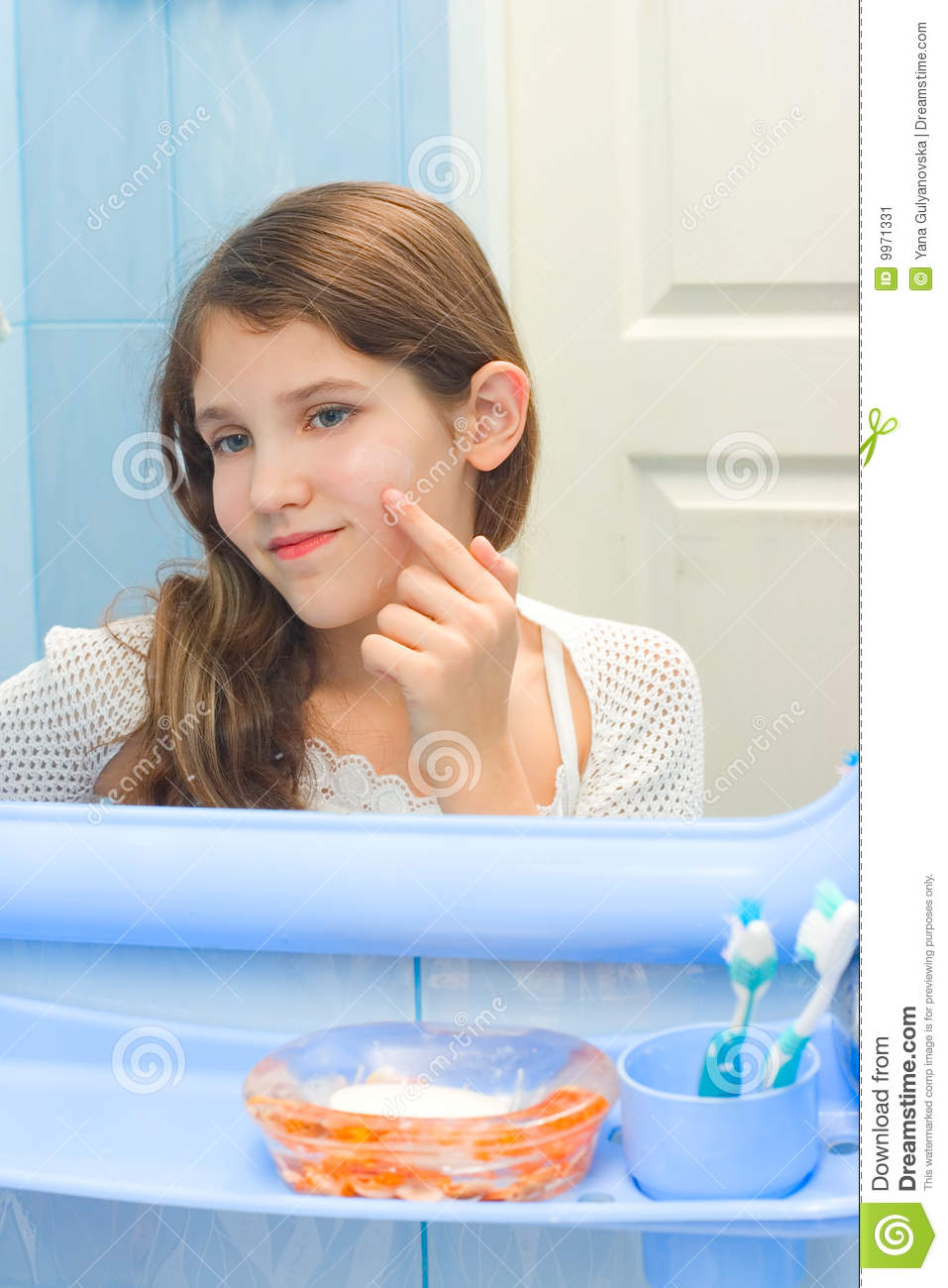 Girl Using Bathroom Teen Girl In Bathroom Stock Image
