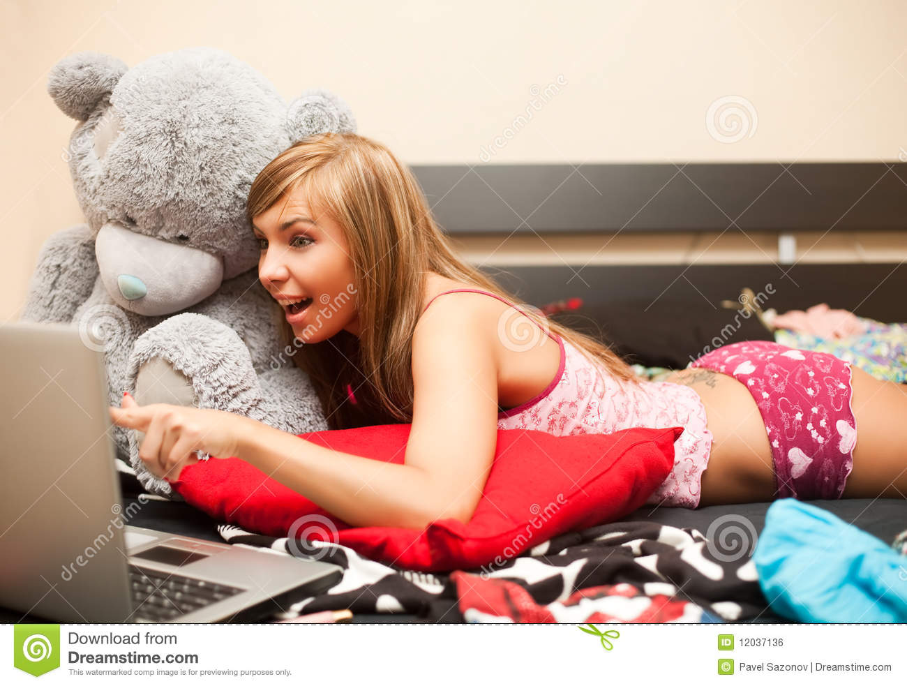 Teen Girl In Bed With Laptop Stock Photo Image 12037136